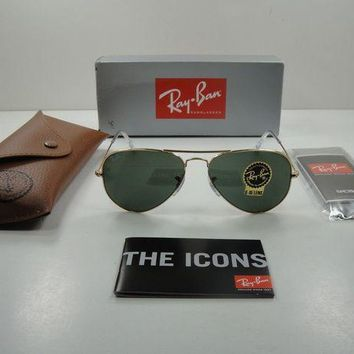 Gotopfashion RAY-BAN AVIATOR LARGE METAL SUNGLASSES RB3025 W3234 GOLD FRAME/GREEN LENS 55MM