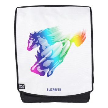 Running Rainbow Horse With Motion Trail Backpack