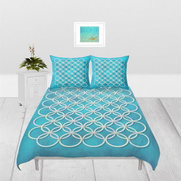 Duvet Cover - 3 sizes - For Full, Queen and King Size Duvet Inserts, Without Insert, With or Without Shams, Nautical, Water, Turquoise, Blue
