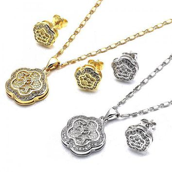 Gold Layered Earring and Pendant Adult Set, Flower and Star Design, with Cubic Zirconia, Golden Tone