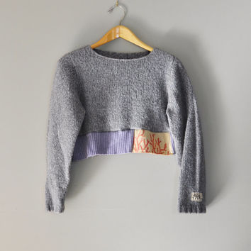 Upcycled Boho Crop Sweater in Slate Gray and Lavender/Kanji Patchwork Sweater/Wearable Art for Obi Style Wraps