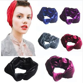 ON SALE 1PCS Velvet Knot Headband Women Noble Scrunchy Twist Hair Band Turban Headband Bandana Bandage On Head For Women