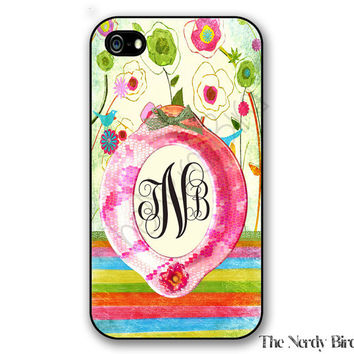 Personalized iPhone 4, 5, 5c and 6 and Galaxy s3, s4 and s5 - colorful floral and striped Monogram