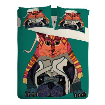 Sharon Turner mouse cat pug Sheet Set Lightweight