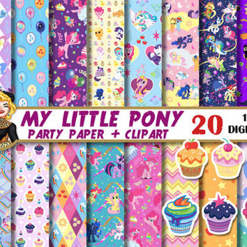 My Little Pony digital paper, kids birthday, party paper, muffin clipart, for invitations, Scrapbooking Paper, patterns, backgrounds
