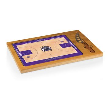 Sacramento Kings - 'Icon' Glass Top Serving Tray & Knife Set by Picnic Time (Basketball Design)