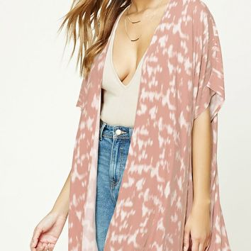 Abstract Print Draped Kimono