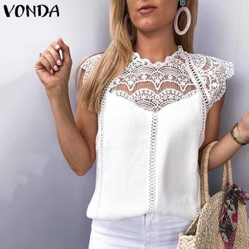 VONDA 2019 Women Blouse Tunic Sexy Sleeveless Lace Shirt OL Office Ladies Shirt Hollow Out Party Tops Camisas White Plus Size