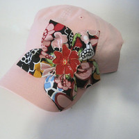 Women's Pink Trucker Baseball Cap with Multi Colored Petal Flower and Flower Rhinestone Accent Truckers Caps Baseball Hats Accessories