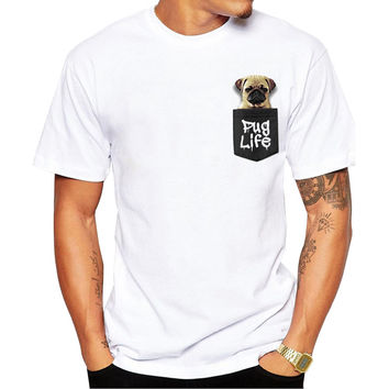 Pocket Pug Life Men's Short Sleeve Casual White T-Shirt