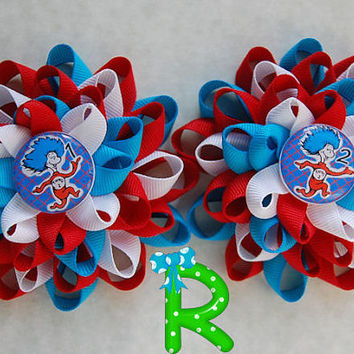 Thing 1 Thing 2 boutique hair bows , dr seuss layered set of bows , loopy flower  pair of bows
