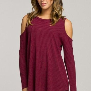 Haley Cold Shoulder Knit - Burgundy