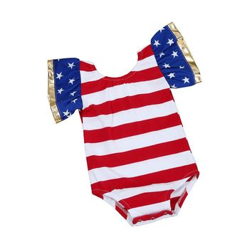 3-18M Patriotic Striped Star Sleeve Onesuit