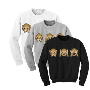 Cartoon Monkeys Say Hear See No Evil - Women's Sporty Casual Sweatshirt