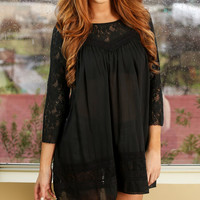 Black Lace-Accent Three-Quarter Sleeve Dress