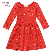 2017 Fishon 100% Cotton Baby Girls Dress Long-Sleeve Red Heart-Shape Winter Dresses For Kids Children Clothes