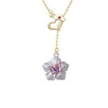 Pink & Purple Butterfly on Large Flower Gold Tone Nurse Hat Heart Lariat Necklace