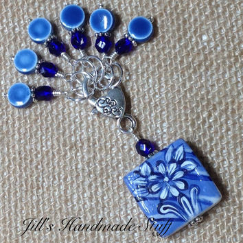 Blue Flower Stitch Marker Holder & Snag Free Stitch markers- Knitting Gift- Tools- organizer
