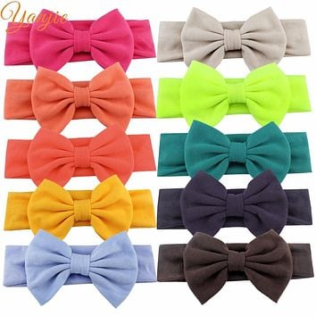 "1 PC Chic European Girl 5"" Bow Elastic Cotton Headbands Hot-sale Soft Hair Accessories For Kids Headwear 2017 Bandeau"
