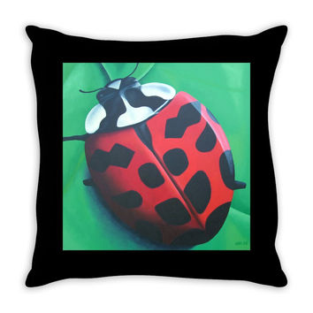 Lunching Lady . . . Bug - Throw Pillow of Ladybug Acrylic Paint Fine Art