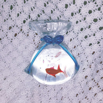 "Vintage Clear Glass Murano Fish in a Bag Paperweight 5.5"" Tall"