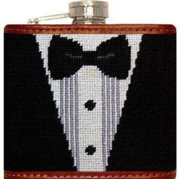 Black Tie Affair Needlepoint Flask in Black and White by Smathers & Branson