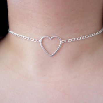 Silver Hollow Heart Pendant O-RING CHAIN Choker Collar Necklace