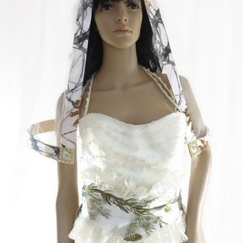 Camo Veil , White Camo , Veils , Wedding Veils , Snow Camo , Camo Wedding ,  White Snow Camo Veil , RealTree Camo , Rustic Wedding