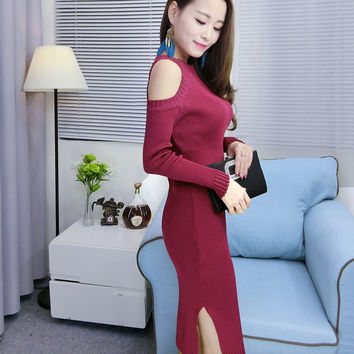 Womens Office Dress Winter Sexy Sweater Pullover Dresses Female Elegance Off Shoulder Knit Bodycon Lady Work Wear Women Clothing