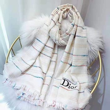 Dior Newest Trending Women Stylish Cashmere Cape Scarf Scarves Shawl Accessories White