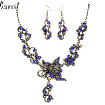 Wdding jewelry set Bride rhinestone jewelry set Butterfly necklace earrings Retro Plated bronze Set of Fashion Jewelry