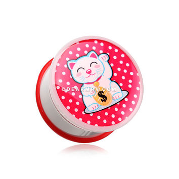 A Pair of Maneki-Neko Lucky Cat Single Flared Ear Gauge Plug