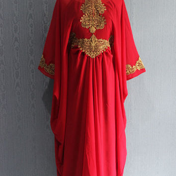 Fancy Red Kaftan Dress, Long dress formal, Bridesmaid Wedding Dress, Dubai kaftan dress, Summer Party Dress, Moroccan Maxi kaftan dress