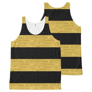 Black & Gold Classy Striped All-Over Print Tank Top