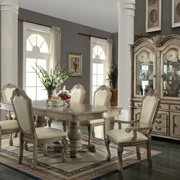 7 pc Chateau De Ville collection antique white finish wood double pedestal dining table set