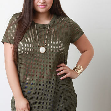 Perforated Short Sleeve Tunic Top