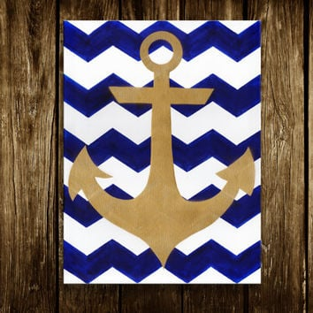 Anchor Decor -Anchor Art -Valentine gift ideas - living room art - kids room decor - Beach decor- Chevron -Bed bath den - Nautical decor