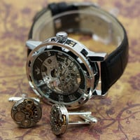Mens Ultimate Steampunk Package,  Mans Watch and Handmade movement cufflinks / cuff links what a package or gift.