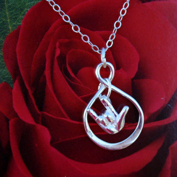 I Love You Infinity Necklace; Sign Language Hand and Infinity Sign