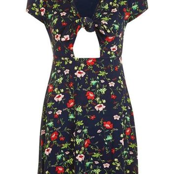 Floral Print Bow Front Dress - Dresses - Clothing