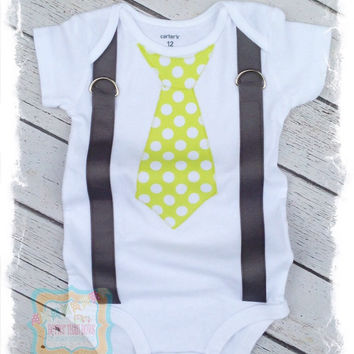 Lime Green with White Polka Dots Tie with Suspenders Bodysuit -Tie Applique with Suspenders-Boys Birthday Outfit-Baby Boy Clothes