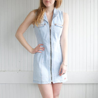 Vintage 80s Denim Zip-Up Dress by Bongo - S
