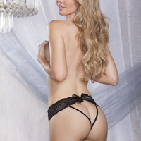 Stretch Mesh And Lace Open Back Strappy Panty