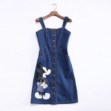 Denim Blue Mickey Mouse Print Straps Button Dress With Pcokets