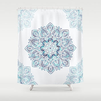 "Shower Curtain - 'Icy Cold' - 71"" by 74"" Home, Bathroom, Bath, Dorm, Girl, Decor, Fantasy, Abstract, Pattern, Mandala, Aqua, Blue, Turquoise"