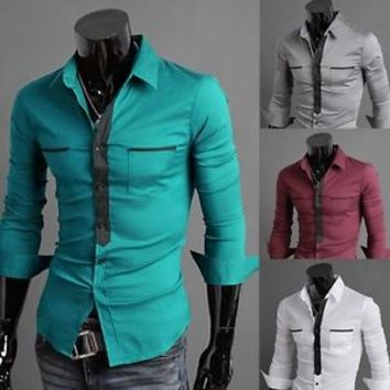 Jeansian Mens Fashion Dress Shirt Casual Tie Pocket Style 4 Colors 4 Sizes 8514