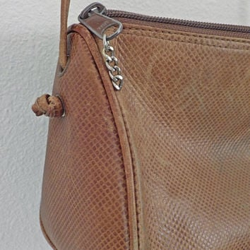 Vintage Brown Triangle Purse // Long Strap // Genuine Leather // Zippered with Pocket Inside