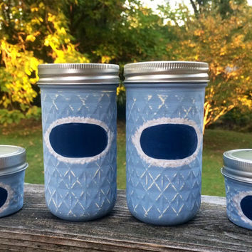 Mason jar office set, Mason jar desk set, Office Decor, pencil holder, 4 light blue mason jars wuth chalkboard labels, mason jar office