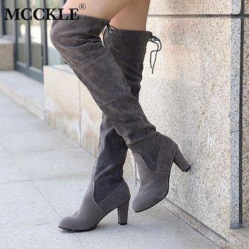 63598d09b3f MCCKLE 2018 Fashion Female Winter Thigh High Boots Faux Suede Leather High  Heels Women Over The