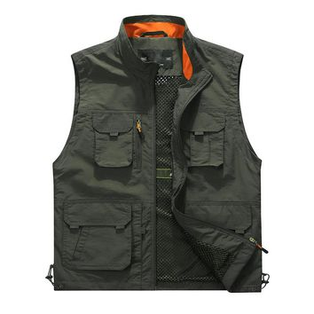 L-6XL Mesh Sleeveless Vest For Men New Classic Solid Multi Pocket Stand Collar Photographer Varsity Jacket Casual Male Waistcoat